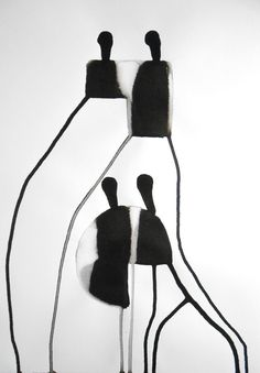 A3 Original Abstract Zen Hand Painted Black Ink Wash by Manjuzaka