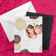 Floral Save the Date Magnet - Chocolate