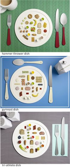 Olympic Athlete Meals by designer Sarah Parker & photographer Micheal Bodiam (from the UK). Together they re-interpret a series of dishes based on the diets Olympian nutritionist Dan Benardot recommends for high-caliber athletes. The project captures an array of meals in an humorous fashion, where each serving usually exceeds 2000 calories. Each plate depicts the typical diet each competitor needed to perform at optimum level during the 2012 Olympic summer games /  DesignBoom