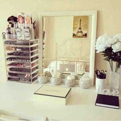 makeup mirror, flower white, storag idea, storage ideas