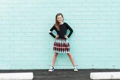 Black with wite stripe sweatshirt and afro printed skirt - #tweenfashion
