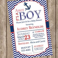 Chevron Ahoy it's a boy baby shower invitation, red, blue, anchor, nautical, digital file