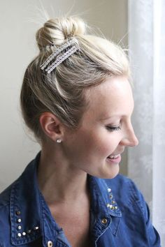 Let's Make Hair Clips! www.abeautifulmess.com >>>> how to wear clips