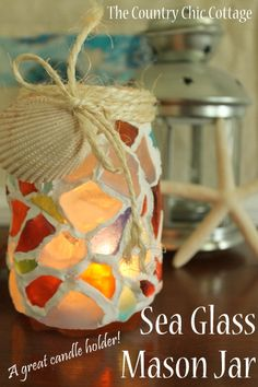 sea glass mason jar -- use your sea glass collection to make this fabulous candle holder for your home. glass crafts diy, mason jar sea glass, diy mason jar glasses, diy sea glass mason jars, diy glass jars, mason jar candles, diy sea glass crafts, sea glass diy crafts, crafts using mason jars