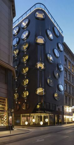 Hotel Topazz, Vienna by BWM Architekten und Partner   Sitting on an area of only 1,647 square feet, this contemporary hotel boasts an unusual facade.  