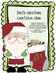 "FREE LESSON - ""Santa Countdown Chain"" - Go to The Best of Teacher Entrepreneurs for this and hundreds of free lessons.  PreKindergarten - 2nd Grade  #FreeLesson  #Christmas  http://www.thebestofteacherentrepreneurs.net/2013/11/free-misc-lesson-santa-countdown-chain.html"