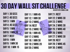 ohsofitspo: Here we have my 30 day wall sit challenge. You can do this anytime and anyplace, it's a quick and easy challenge and you will certainly feel it in your thighs and calves. Maybe even a little booty! For the average joe's: I suggest having your hands against the wall but still making sure your back is straight and legs are 90 degrees. exercise workouts, fit, bodi, challenges, 30 day wall sit challenge, 30 day challenge thigh, healthi, workout exercis, motiv