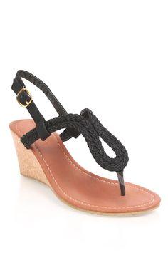 Deb Shops #black braided sandal #wedge