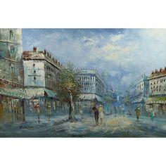 french street scene painter | ... Retro Signed Paris Parisian French Street Scene Painting: Image 4