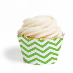 Kiwi Green Chevron Cupcake Wrappers