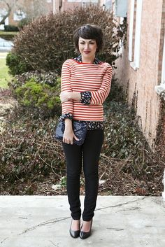set your sights short hair, mix match, pattern mixing, mixing patterns, mixed patterns, outfit, mixed prints, stripe, style blog