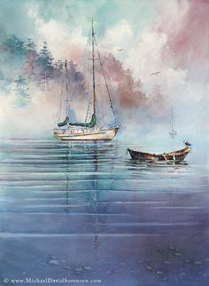"""In the Mist"" - Watercolor by Michael David Sorensen."