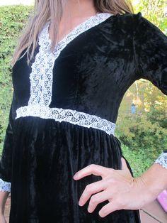 70s Midnight Moon Victorian Lace & Black Velvet Empire Waist Maxi Dress