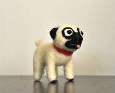 2 Pug Dog Needle Felted Little Love Pet by AdoraWools on Etsy, $30.00