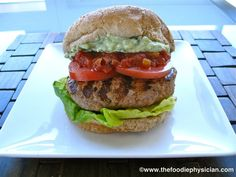 The Foodie Physician: Dining with the Doc: Salsa Turkey Burgers with Avocado Crema and Oven Roasted Sweet Potato Wedges
