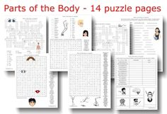 Printable Puzzle Packet -- Parts of the Body in Spanish -- includes word lists and answer keys -- from PrintableSpanish.com