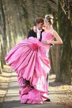 pink wedding dress #pink #wedding