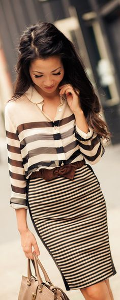 fashion, color combos, street styles, pencil skirts, postcard, bow, work outfits, stripes, shirt