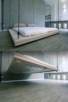 Floating bed interior design, swing beds, hanging beds, floor, bed designs, morning coffee, master bedrooms, platform beds, dream bed