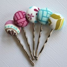 Covered button bobby pins. Simple, easy and perfect for gifts.