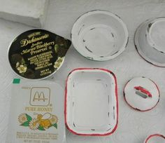 inspiration: faux enamel pans from single serving restaurant containers