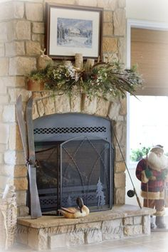 love this big stone fireplace with the arched top ~ from Back Porch Musings 2012 {lodgeB1}