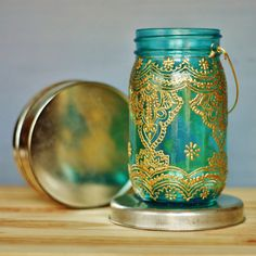 Moroccan Style Lantern, Teal Glass Mason Jar with Golden Details