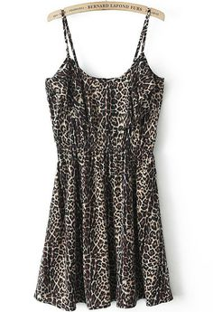 Yellow Spaghetti Strap Leopard Pleated Dress pictures