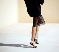 lace skirt under knit