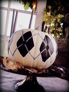 Painted argyle and glitter pumpkin