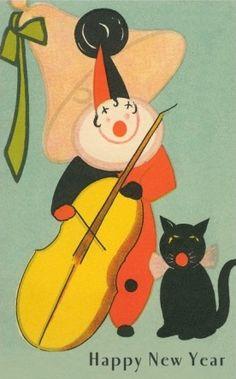 Happy New Year clown & cat