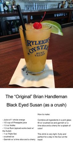 """Get ready for the Preakness & make your own """"original"""" Brian Handleman Black Eyed Susan cocktail as a Crush! Or, you know, just go to Ryleigh's Oyster"""
