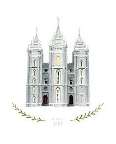 Salt+Lake+City+Utah+LDS+Temple+Illustration++8x10+by+HeatherMettra,+$20.00