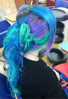 Blue multi color ponytail hair - Top 10 latest Ponytail Hairstyles