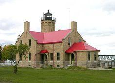 Mackinaw City, MI Lighthouse at the foot of the Mackinaw Bridge.