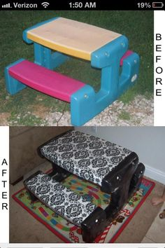 A little spray paint and some fabric will make those ugly toddler tables look fancy! - Imgur