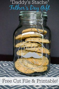 Daddy's Stache - cookie jar for Dad!  Great Father's Day gift.  Fill with treats and send to work with Dad!  Free cut file and printable tag via unOriginal Mom
