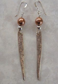 fork tine, tine earring, earring recycl, copper bead, silver fork