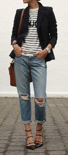 Dressed up boyfriend jeans