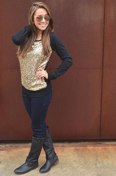 Light Of My Life Sweater: Black/Gold