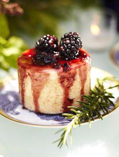 Ricotta Cheesecake with Blackberry Balsamic Rosemary Sauce