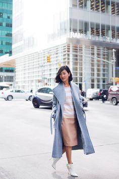 Nicole Warne in Theory coat #modestfashion #modestdress #tzniutfashion #classicdress #formaldress #kosherfashion