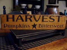 Primitive Fall Harvest Handpainted Wood Sign.