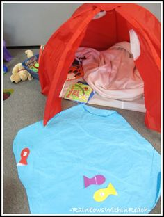 Preschool Camping Theme with tent and pond ponds, preschool camping theme, tents, ducks, camps, camp themes, rainbow, blues, preschools