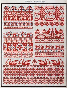 Traditional Old time Russian Cross stitch designs Antique Booklet in PDF
