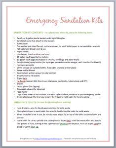Emergency Sanitation Kits (free handout)