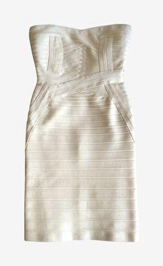 Herve Leger Cream Dress