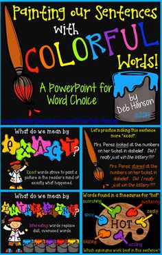 This 40-slide PowerPoint is a step-by-step presentation that teaches students about using exact, interesting words in their writing.  It comes with a worksheet companion so that students can follow along on their worksheet at the class progresses through the PowerPoint!  http://www.teacherspayteachers.com/Product/Word-Choice-Powerpoint-Includes-a-worksheet-companion-1252087