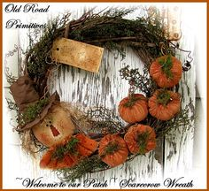 Welcome to our Patch Scarecrow & Pumpkins Pattern-Fall,Scarecrow Wreath,Pumpkins,Harvest,ePattern,Old Road Primitives