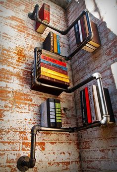 galvanized pipe shelves.